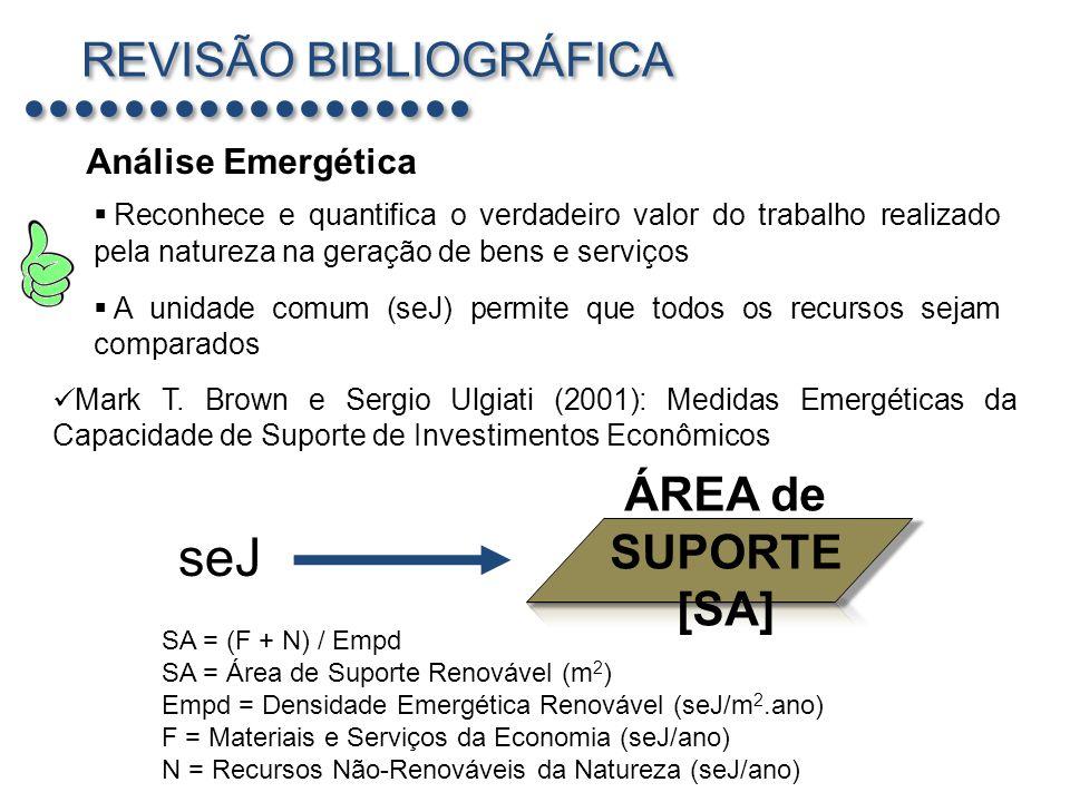seJ REVISÃO BIBLIOGRÁFICA ÁREA de SUPORTE [SA] Análise Emergética